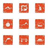 Difficult Terrain Icons Set. Grunge Set Of 9 Difficult Terrain Vector Icons For Web Isolated On Whit poster