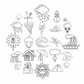 Rainy Weather Icons Set. Outline Set Of 25 Rainy Weather Vector Icons For Web Isolated On White Back poster