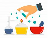 Chemical Laboratory Concept Background. Flat Illustration Of Chemical Laboratory Concept Background  poster
