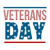 Text Veterans Day Logo. Flat Illustration Of Text Veterans Day Logo For Web Design poster