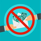 Say No To Bribery Concept Background. Flat Illustration Of Say No To Bribery Concept Background For  poster