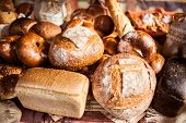 Arrangement With Bakery Products.various Bakery Products In Stock. Buns, Bread, Bagels poster