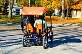 People Ride A Trendy Orange Four-wheeled Bicycle, A Cycle Card With A Wheel In The Autumn Park. poster