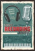 Music Sound Recording Studio, Retro Microphone And Headphones, Equalizer Wave, Electric Piano Keyboa poster