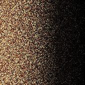 Gold Glitter Background With Sparkle Shine Light Confetti. Vector Glittering Black Background. Golde poster