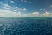 Beautiful Seascape Panorama. Composition Of Nature. Tropical Sea, Blue Sky, Clouds. Inspirational Se poster