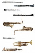 wind instruments under the white background