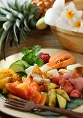 Rujak is an Indonesian traditional fruit salad dish. A spicy fruit salad made with a mixture of frui