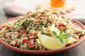 Tabbouleh with bulgur, tomatoes, parsley, mint, and lemon