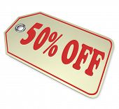 The number and word 50% percent off, for a special sale or discount clearance event for saving money when buying a product or service at a store or website