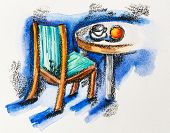 Chair and table with coffee cup and orange, watercolor with slate-pencil painting