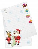 illustration of a santaclause and reindeer with paper note