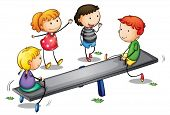 stock photo of seesaw  - Illustration of kids on a seesaw - JPG