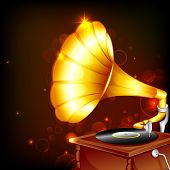 illustration of antique gramophone on abstract background