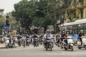 Overwhelming Number Of Motorbikes Downtown.