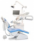 Blue Dental Chair Isolated with Clipping Path
