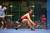 KUALA LUMPUR - SEPTEMBER 01: Low Wee Wern (red) takes on Vanessa Raj (white) at the TC Malaysian Nat