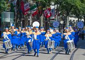 ZURICH - AUGUST 1: Zurich city orchestra in traditional costumes openning the Swiss National Day par