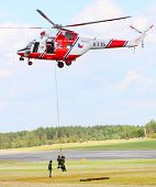 PILSEN, CZECH REPUBLIC - AUGUST 25: Modern polish rescue helicopter W-3A Sokol and rescue team, Pils