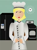 Happy Female Chef In Kitchen Holding Fork And Spoon