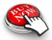 image of going out business sale  - buy now red button and cursor hand on white background - JPG