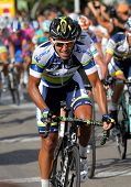 BARCELONA - AUG 26: Orica Greenedge Australian cyclist Allan Davis rides with the pack during the Vu