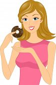 Illustration of a Woman Holding a Partially Eaten Doughnut