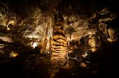Big Stalagmite column Formations in the Cave