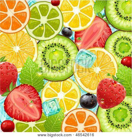Постер, плакат: Летние каникулы векторные иллюстрации с коктейль фрукты и ягоды Клубника вишня оранжевый, холст на подрамнике