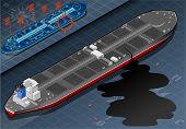 Isometric Ship Tanker Leaky Oil In Rear View