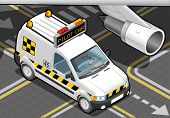 Isometric Airport Follow Me Car In Front View