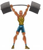 picture of lifting weight  - the old man lifting a heavy iron - JPG