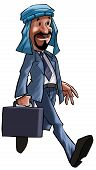 stock photo of saudi arabia  - A arabian executive walking with his briefcase - JPG