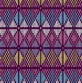 Style Seamless Knitted Pattern.blue Pink Yellow Color Illustration
