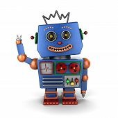 image of cyborg  - Smiling and waving vintage toy robot over white background - JPG