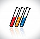 Concept Vector Graphic- Abstract Colorful Medical Lab Test-tube Icon(sign)