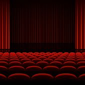 Theater interior with red curtains and seats. Vector.