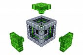 3D Cubes - Assembling Parts - Green Glass