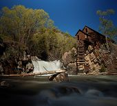 Crystal Mill, or Lost Horse Mill, is an old wooden power house with a water turbine that used to dri