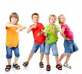 happy children dancing on a white background, healthy life
