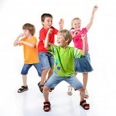 image of schoolgirl  - happy children dancing on a white background - JPG