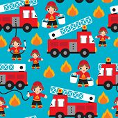 stock photo of ladder truck  - Seamless kids fire men and truck illustration blue background pattern in vector - JPG