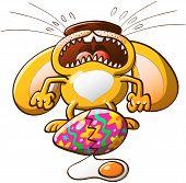 Trauriger Hase Weinen, weil sein Osterei kaputt ist