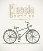 Vintage illustration with a classic cruiser bicycle. Editable layered vector.