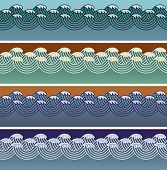 Set of wave seamless patterns made in Asian style. Editable vector illustration.