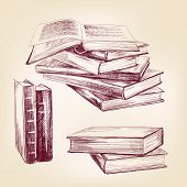 foto of outdated  - books set hand drawn vector llustration realistic sketch - JPG