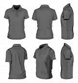 All views men's white short sleeve polo-shirt design templates (front, back, half-turned and side vi