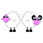 Sheep And Ram Cartoon Art Vector