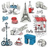 stock photo of baguette  - Paris Illustration Set  - JPG