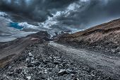 stock photo of manali-leh road  - Road in Himalayas near Tanglang la Pass   - JPG